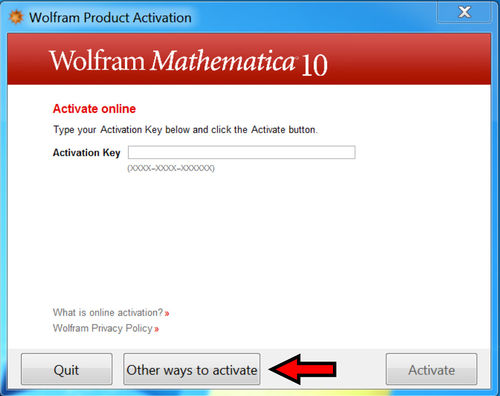 Mathematica 10 Activation Screen 1